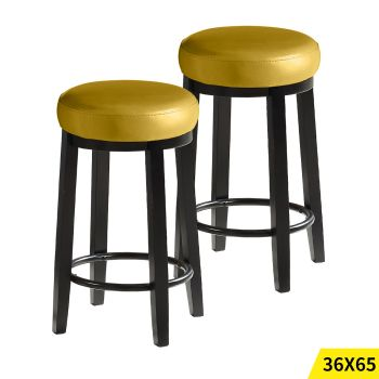 2x Levede 65cms Wooden Kitchen Swivel Bar Stools in Citrine Colour