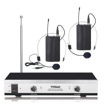 Wireless Headset Microphone Vhf Dual Channel Twin Head Mic Tjp-Ll61
