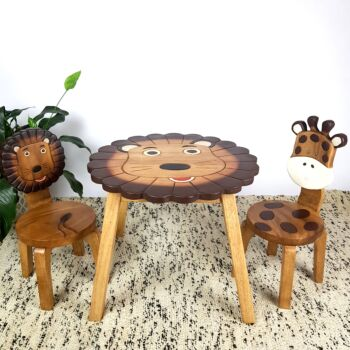 Kids Wooden Table + 2 Chairs Set Lion Design Carved Timber Children Furniture
