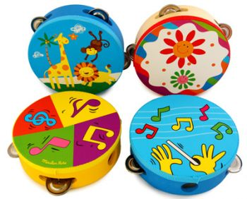 Wooden tambourine with pattern - small