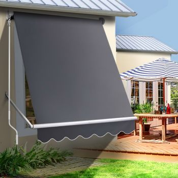 Instahut Retractable Fixed Pivot Arm Window Awning Patio Blinds 1.5X2.1M Grey