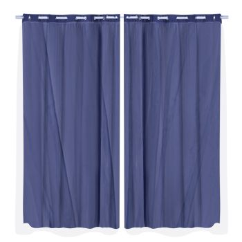2x Blockout Curtains Panels 3 Layers Room Darkening 240x230cm in Navy