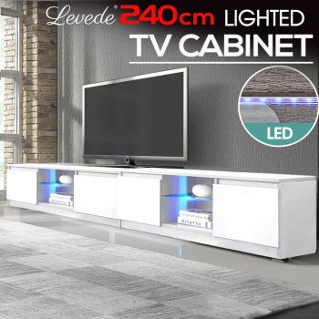 2x Levede TV Cabinet Entertainment Stand LED Lowline Shelf Storage Furniture