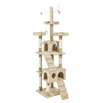 PaWz 2.1M Cat Scratching Post Tree Gym House Condo in Cream