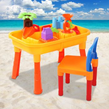 Kids Outdoor Sand and Water Toddler Children Table & Chair Sandpit Toy Set