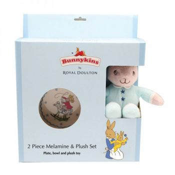 Bunnykins Plush Toy, Bowl & Plate Set - Blue