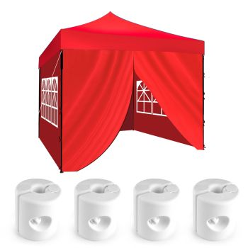 3x3m Pop Up Gazebo Outdoor Folding Tent & Base Pod in Red Colour