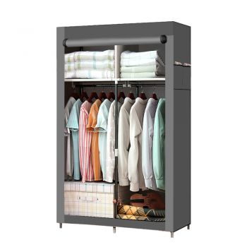 Large Portable Clothes Closet Wardrobe Storage Organiser with Shelves in Grey