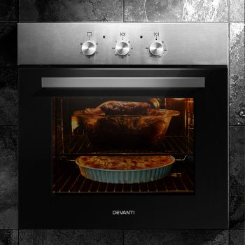 Devanti Built in Oven 60cm Electric 70L Wall Convection Ovens w/ Racks Grill Stove Fan Forced Multifunctional 10A Plug Stainless Steel