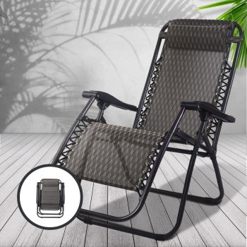 Zero Gravity Chair Outdoor Chairs Beach Lounger Portable Reclining Sun Lounge Folding Camping Grey