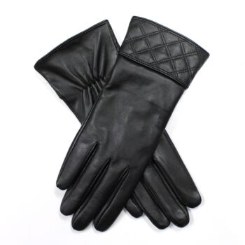 Women's Leather Gloves with Quilted Cuffs