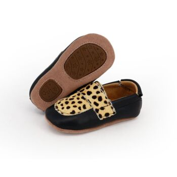 SKEANIE Leather Pre-Walker Loafer Shoes in Black with Spots