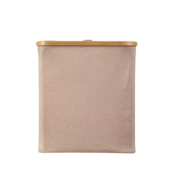 Sherwood Home Short Rectangular Linen and Bamboo Laundry Hamper with Cover Rose Gold - 40x33x43cm