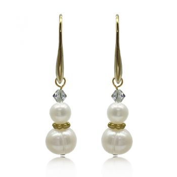 5-8mm Freshwater Pearl Adorned with Swarovski® Crystal & Real 24k Gold Plated Drop Earrings