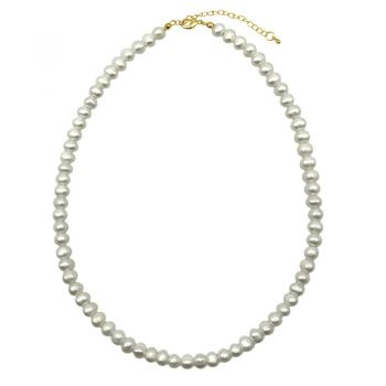 Natural 7-8mm Potato Shape Freshwater Pearl with Real 24k Gold Plated Necklace