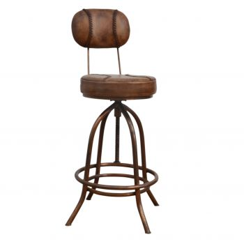Industrial Wind Up Bar Chair With Leather
