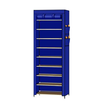 Levede 10 Tier Portable Wardrobe Shoe Rack Storage Organiser in Blue Cover