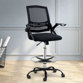 Artiss Office Chair  Veer Drafting Stool Mesh Chairs Armrest Black Standing Desk