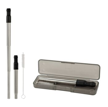 Reusable Extendable Metal Straw and Case