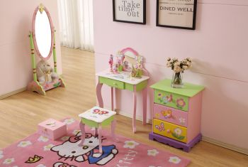 ALL 4 KIDS Olivia the Fairy Girl's Flower Vanity Set with Stool