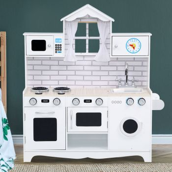 Keezi Kids Kitchen Set Wooden Pretend Play Toys Playset Food Cooking Sets Children Oven  White