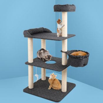 i.Pet Cat Tree Trees Scratching Post Scratcher Tower Condo House Furniture Wood 132cm