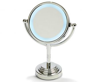"""5"""" Led Backlit Make Up Mirror Double Side 1X / 5X Magnification Battery Silver"""