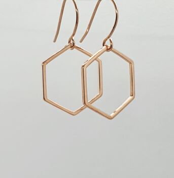 Rose Gold Hexagon Dangles