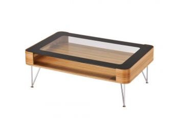 Zine Scandinavian Small Rectangular Coffee Table 90cm - Wooden Frame - Glass Top
