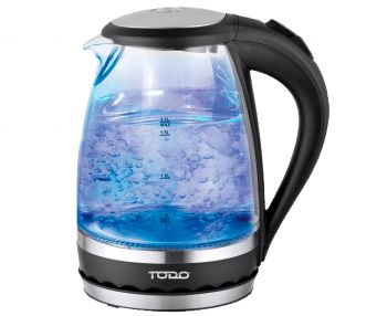 TODO 1.5L Glass Cordless Kettle Electric Blue Led Light 360 Clear Jug Black