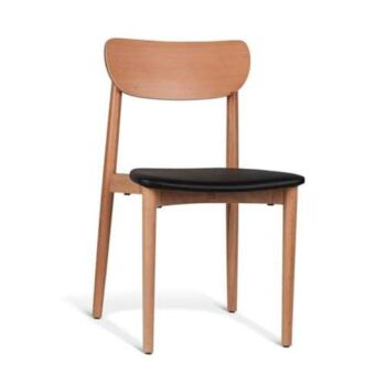 Nord Notodden Dining Chair - Natural Frame - Black Cushion Seat