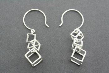 3 x cube drop earring - sterling silver