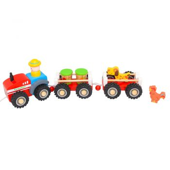 Red Tractor with Double Trailo