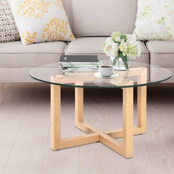 Coffee Table Tempered Glass Metal legs Round Bedside Tables Furniture