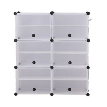 6 Tier Cute Cabinet Stackable Organiser for Shoes in White