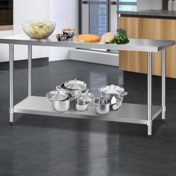 Cefito 1829x610mm Stainless Steel Kitchen Benches Work Bench Food Prep Table 304 Food Grade Stainless Steel