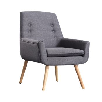 Levede Upholstered Fabric Wooden Chair in Grey