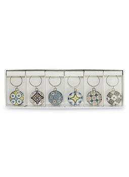 Wine Charms Fresh Mosaic Set Of 6|Beautifully Gift Boxed|Great gift idea