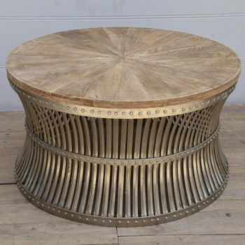 Inverted Iron And Wood Coffee Table