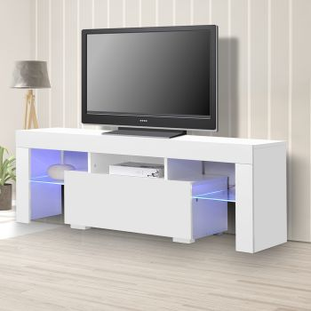 TV Cabinet White Entertainment Unit Stand Wooden LED Lowline Media Storage Shelf