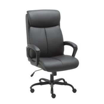 Puresoft PU Leather Soft Padded High-Back Office Chair - Black