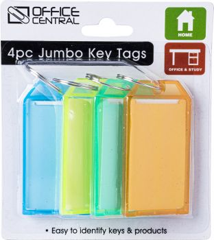 Key Tags Large Colour 6.7cm x 3.5cm 4pc