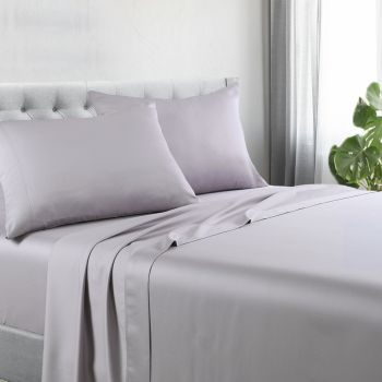 Double Bed 1200TC Cotton Rich Bed Sheet Sets in Silver