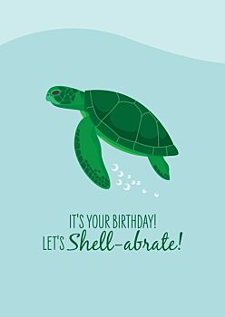 Birthday Card - Green Turtle