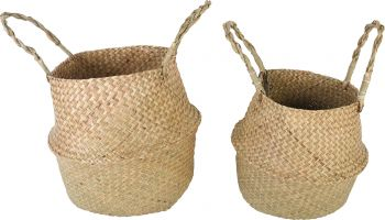 BYRON 2PCE SEAGRASS BELLY BASKETS FOLDABLE 30 X 27CM