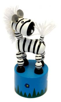 Wooden Push up Toy - Zebra