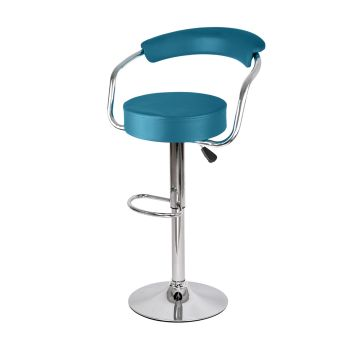 2x Levede PU Leather Swivel Bar Stools Adjustable Gas Lift Chairs in Teal