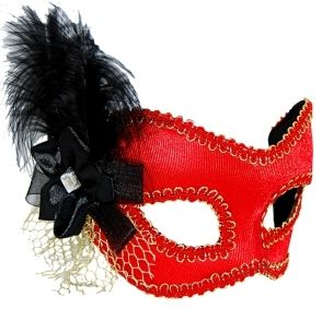 Masquerade Mask - Red w/Black Feather