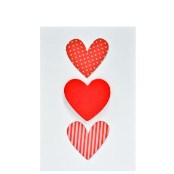 Small Card Three Hearts Red