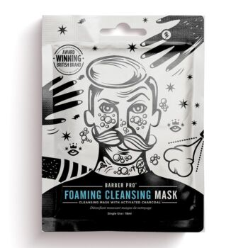 BarberPro Foaming Cleansing Face Mask with Activated Charcoal (1 x 20g)
